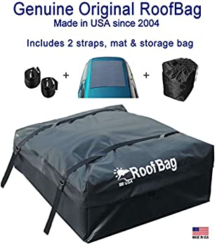 RoofBag Rooftop Cargo Carrier Made in USA 15 Cubic Feet Waterproof Car Top Carrier for Cars with Racks or Without Racks Includes 2 Straps Roof Protective Mat Storage Bag