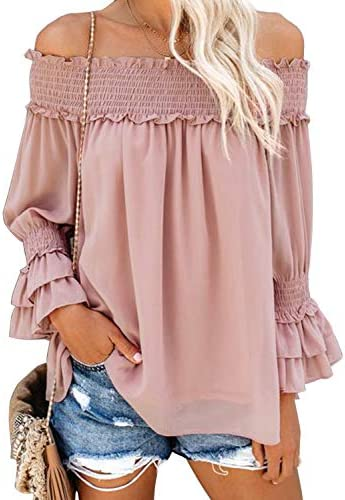 Blooming Jelly Women s Off Shoulder Chiffon Blouse Ruffle Sleeve Flattering Top Shirt XL Pink product image