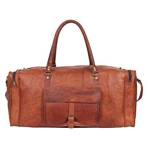 Siddhaayacrafts Leather Duffel Vintage Holdall Luggage Travel Bag for Men Women Handmade Gym Sports Weekend Overnight Bag