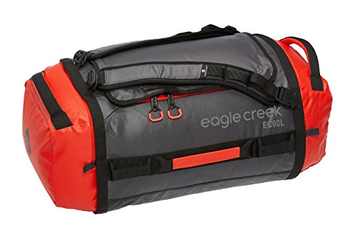 Eagle Creek Unisex Cargo Hauler Duffel 60L, Flame/Asphalt, Ultra-Light Convertible Bag Backpack