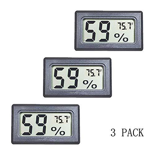 BETAZOOER 3 Pack Mini Reptile Hygrometer Thermometer Digital Indoor Humidity Gauge Monitor with Temperature Meter Sensor Fahrenheit (℉)