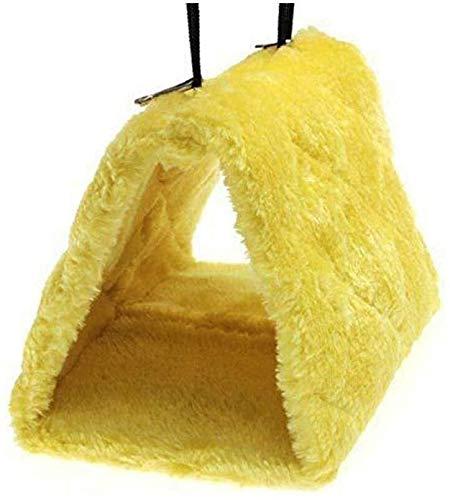 IMBM Winter Warm-Vogel-Nest Haus Hütte Haustier-Vogel Hänge gebürsteter Baumwolle Nest for Hamster Parrot Eichhörnchen und andere Kleintiere Tierbett (Color : Yellow, Size : M)
