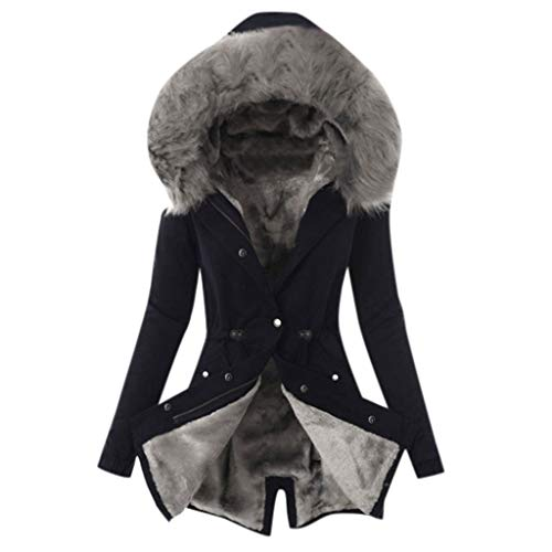 Best Review Of Winter Coats for Women Fur Lining Coat Womens Hooded Warm Thicken Long Parka Jacket H...
