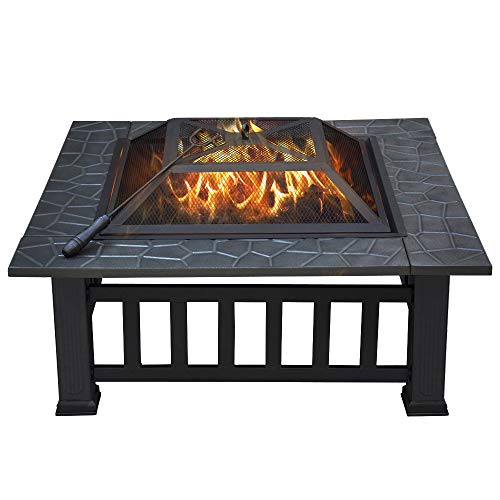 Yaheetech 32in Outdoor Metal Firepit Square Table Backyard Patio Garden Stove Wood Burning Fire Pit