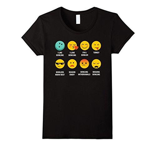 Womens I Love Bowling Emoji Emoticon Bowlers Graphic Tee T-Shirt XL Black
