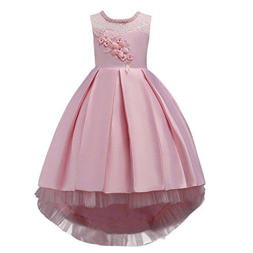 Vestido de niña de Flores para la Boda Princesa Vestidos de Dama De Honor Sin Mangas Hi-Lo Fiesta...