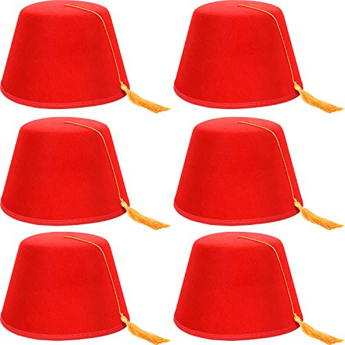 SATINIOR 6 Paquetes de Gorro de Fez Rojo Sombrero Turco Sombrero de Fez de Shriner con Borla Sedosa (Borla Sedosa Dorada)