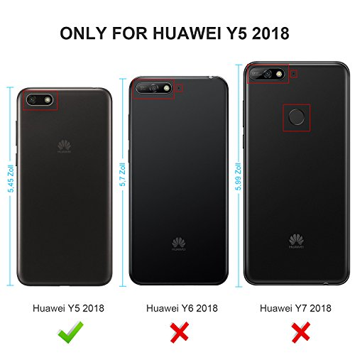GeeMai für Huawei Y5 2018 Hülle, für Huawei Y5 Prime 2018 Hülle, Premium Hülle Flip Case Tasche Cover Hüllen mit Magnetverschluss Standfunktion Schutzhülle für Huawei Y5 2018 Phone (Schwarz) - 2