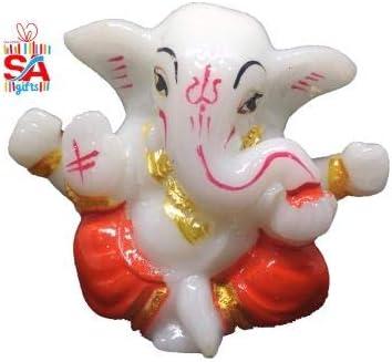 Sai Amrut S A Gifts Lord Ganesha Ganesh Ganpati Car Dashboard Idol Hindu Figurine Showpiece (2 Inches, Red)