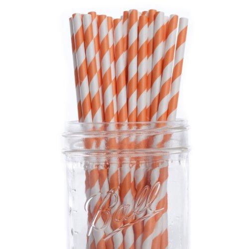 Dress My Cupcake Orange Striped Paper Straws, 25-Pack