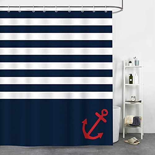 Bonhause Duschvorhang 180 x 180 cm Marineblau Streifen Nautische Anker Duschvorhänge Anti-Schimmel Wasserdicht Polyester Stoff Waschbar Bad Vorhang für Badzimmer mit 12 Duschvorhangringen
