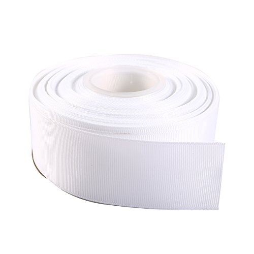 "ITIsparkle 11/2"" Inch Grosgrain Ribbon 25 Yards-Roll Set For Gift Wrapping Cake Decoration Party Favor Hair Braids Hair Bow Baby Shower Decoration Floral Arrangement Craft Supplies, White Ribbon"