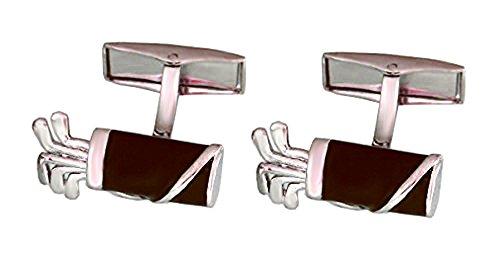 Unbekannt Golf Manschettenknöpfe Tasche Bag Dunkelbraun Silbern inkl. Silberbox