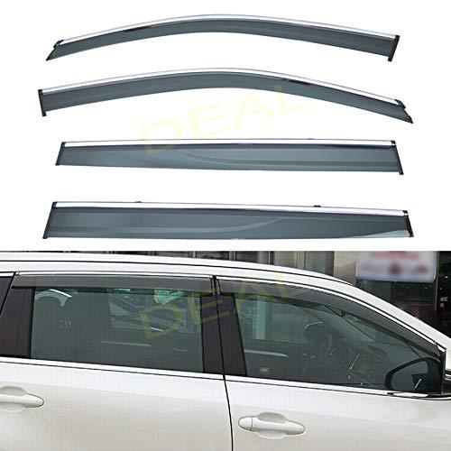 Front Only Chrome Trim Window Visors Fits Toyota Highlander 2001-2006