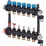 Colector con caudalímetro FM Vario M 8xG3/4'Euro, conexión derecha o izquierda G1 con junta de estanqueidad, separación circuitos de 50 milímetros, color negro (referencia 1085950)