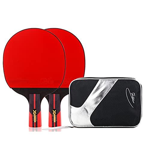 LINGOSHUN Raquetas de Tenis de Mesa Portátil,Mango Cómodo,2 Raquetas de Ping Pong para Principiantes con Bolsa de Raqueta para Niños,Adultos / 3 Stars/Short handle