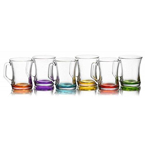 LAV 6 teiliges farbige Gläser- Set Getränkegläser Teegläser Set mit Henkel Cay Bardagi Füllmenge 225 ml Ideal geeignet für Heiß- oder Kaltgetränke Zen+