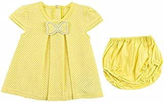lumex Front Pleats Cap Sleeves Dress with Elastic Waist Panty for girls 6-9 Months