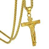 GOLDCHIC JEWELRY Collana Crocifisso d'oro per Uomo, Ciondolo Croce Gesù Inri con Catena d'oro
