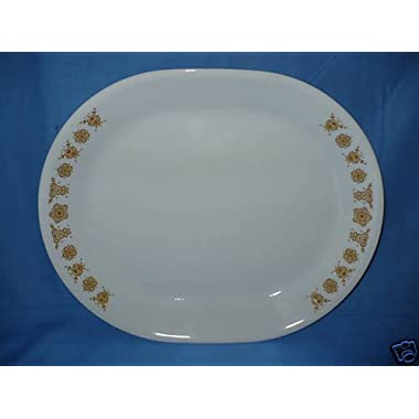 Corelle by Corning 12  oval platter with deep rim - Butterfly Gold Pattern