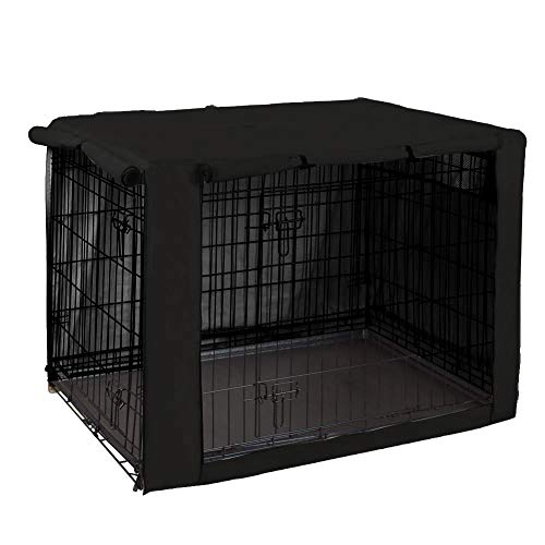 Geyecete Funda para jaula de perro – Funda universal para jaula de perro de 63 – 124 cm, tela ligera 100% poliéster, transpirable doble puerta jaula para perro, color negro – 76 cm