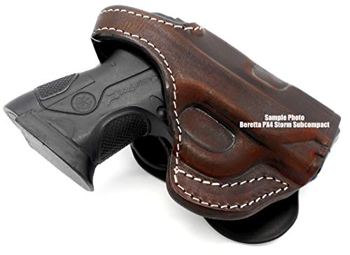 HOLSTERMART USA TAGUA Premium Deluxe Right Hand Full Rotating Paddle and Belt Slide Holster with Reinforced Thumb Break in Dark Brown Leather for Beretta PX4 Storm SUBCOMPACT 3'
