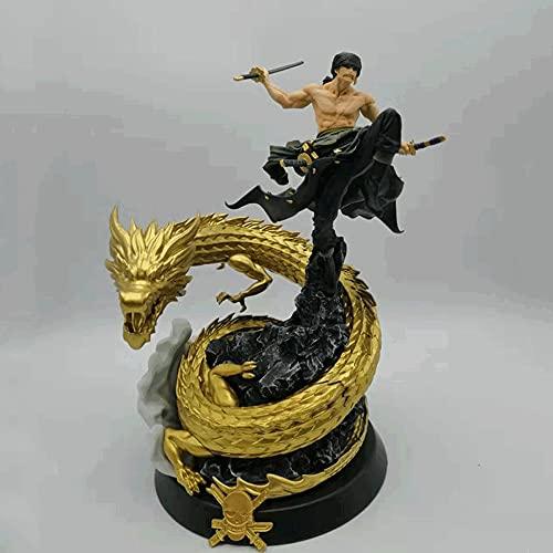 NAMFZX One Piece World War Top Battle Dragon Hunter Statue de Zoro Roronoa Or/Violet Modèle de Personnage d'anime 35 cm (13.79in) PVC de Haute qualité/Personnage d'anime/Fan d'anime