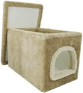 Cat Litter Box Furniture in Beige Carpet Large Cat Litter Box with Cover