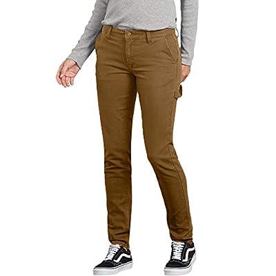 Dickies Women's Slim Straight Stretch Duck Carpenter Pant, Rinsed Brown Du, 12