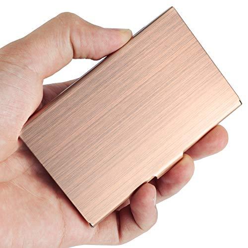 Soporte para tarjetas de visita de VIPITH, hecho de acero inoxidable, diseño delgado, ideal para trabajo y viajes, color plateado, color oro rosa Small