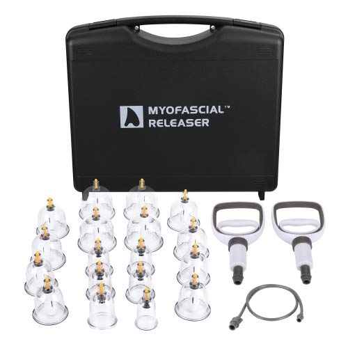 Professional Cupping Therapy Set by Myofascial Releaser **Free Replacement Cups** 18 Multi-Sized Cups with Large and Facial Sized Vacuum Cups - Massage and Physical Therapy Equipment Set