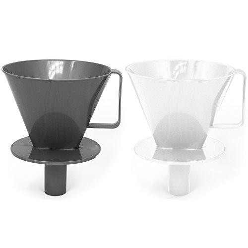 com-four® 2x Porte-filtre à café permanent, filtre à café en différentes couleurs [sélection variable], filtre à main pour café