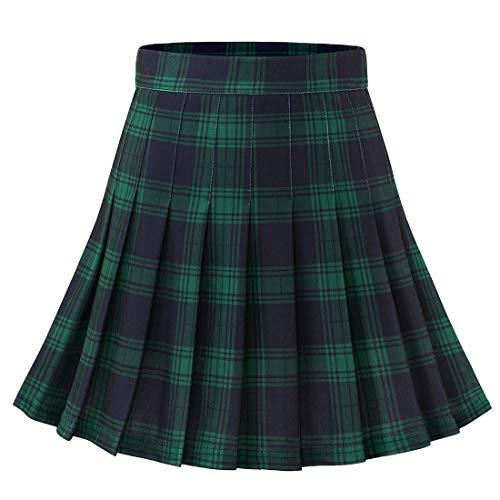 Dressystar Women's Basic Skirt Stretchy Skater Cheerleader Pleated Mini Skirt 20 Green Navy Plaid S