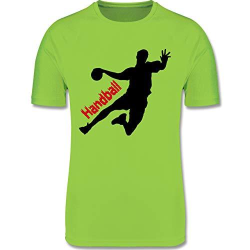 Sport Kind - Handballer mit Schriftzug - 140 (9/11 Jahre) - Limonengrün - Handball Kinder Shirt - F350K - atmungsaktives Laufshirt/Funktionsshirt für Mädchen und Jungen