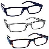The Reading Glasses Company Blu Grigio Marrone Leggero Comodo Lettori Valore 3 Pacco Uomo ...