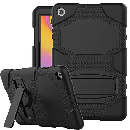 SYNTAKS Galaxy Tab A 10.1 2019 Case(SM-T510/T515),Slim Heavy Duty Shockproof Rugged Case Hard PC+Silicone High Impact Protective Case for Samsung Galaxy Tab A 10.1 Inch 2019 Release,Black
