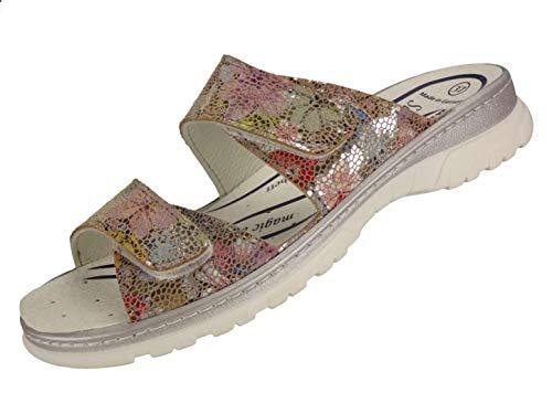Algemare Pantolette Sandalette Leder Flower waschbares Sanipur Wechsel-Fußbett 6716_9658 Freizeitschuhe, Größe:38 EU
