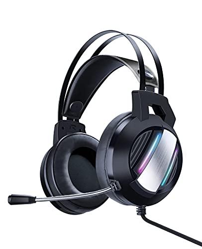 ShinePick Cuffie Gaming, Cuffie da Gioco con Cavo USB Audio Jack da 3,5 mm, Cuffie Over Ear con Microfono Luce LED e Controllo Volume, Gaming Headset Compatible con PS4