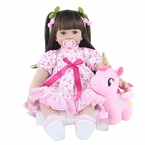 GYAM 60cm Silicona Reborn Babies Doll Princess Alive Toddler Bebe Dress Up Play House Juguetes Kid Regalo de cumpleaños