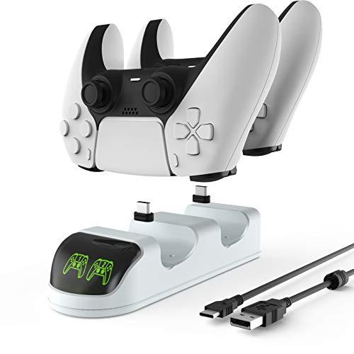 Cargador Mando PS5, ETPARK Base de Carga para Sony Mando Ps5, Soporte Mando PS5 Estación de Carga Rápida Doble USB con LED Indicador y Protección inteligente, 2 Puertos de CargaType-C de Carga PS5