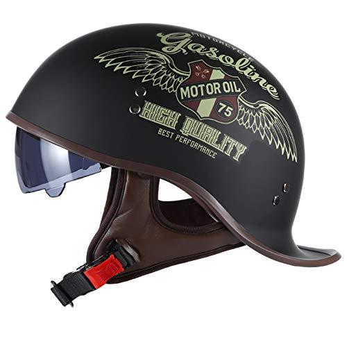 Liuygyc Casco Moto Jet Hombre Mujer Retro ECE Homologado Cascos Moto Half Helmet con Visera Casco Abierto per Moto para Scooter Mofa Crash (Color : F, Size : (XL/61-62CM))