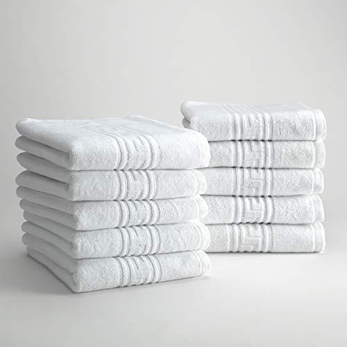 D&D Quality - 10 Toallas Lavabo Hotel 100% algodón Egipcio, Color Blanco (Set 10 Toallas Lavabo 50x90 cm)