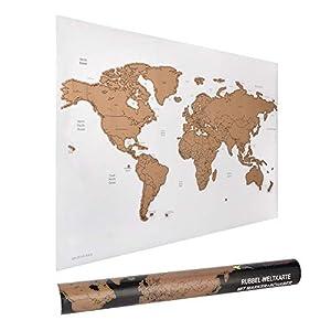 ewtshop® - Mapa del mundo rascador de rascar (60 x 40 cm, con rotulador y rasqueta)