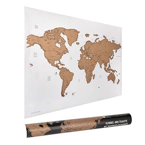 *ewtshop® Rubbel-Weltkarte, 60 x 40 cm mit Marker und Schaber, Weltkarte zum Rubbeln*