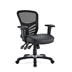 Modway Articulate Mesh Office Chair with Fully Adjustable Black Vinyl Seat