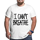 De Li Sheng UiikIIDl Camisetas y Tops Hombre Polos y Camisas Fziee I Can't Breathe Men's Cotton Big & Tall Short-Sleeve Loose-Fit Heavyweight Crewneck T-Shirt