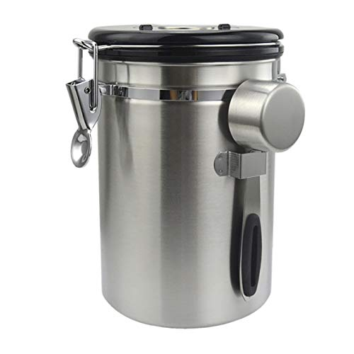 Xuanmuque 22 OZ Coffee Canister, Stainless Steel Coffee Container, Coffee Storage Jar with Date-Tracker, CO2-Release Valve, Measuring Scoop