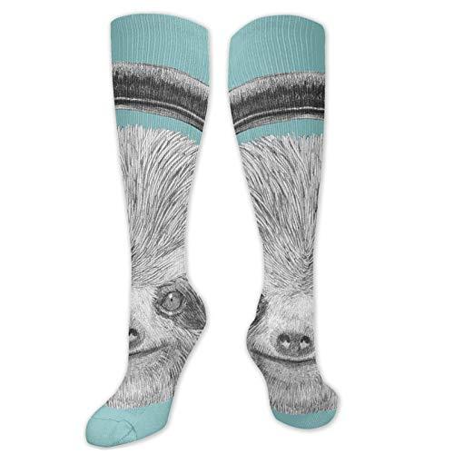 Calcetines personalizados, Dj Sloth Retrato con auriculares divertidos y modernos personajes divertidos para mujer, calcetines divertidos de algodón para mujer
