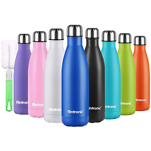 flintronic Botella Termica, 500ML Botella de Agua de Acero Inoxidable, Aislamiento de Vacío de Doble Pared, Botellas de Frío/Caliente Sin BPA & Eco Friendly, con 1 Portavasos y 1 Cepillo