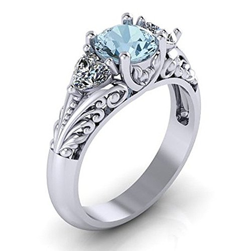 Exquisite Sapphire Engagement Ring for Couple Creative Trends Gorgeous Ring Wedding Banquet Jewelry Gift (Silver, 10)
